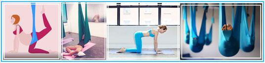 V.l.n.r: Zwangerschaps Aerial Yoga & Restorative Aerial Yoga, Mindful Pilates, Aerial Yoga rust pose