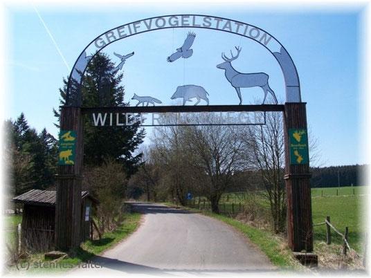 Parkplatzzufahrt Wildfreigehege und Greifvogelstation Hellenthal