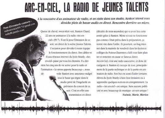 K'eskon Attend ? Le magazine des troisièmes journalistes du collège René Descartes de Chatellerault. Pour les ados de Châtellerault de 13-18 ans