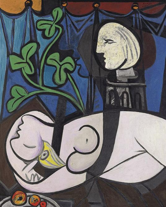 Обнаженная, зеленые листья и бюст - картина Пабло Пикассо