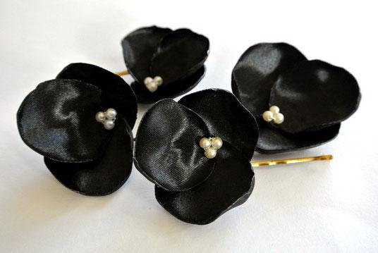 Haarnadel Hortensie schwarz