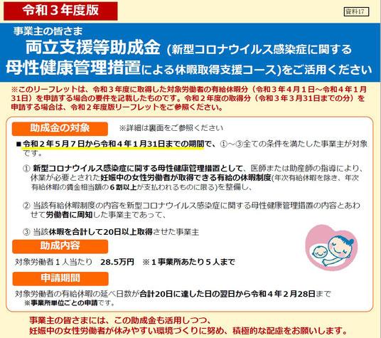 両立支援等助成金(新型コロナウイルス感染症に関する母性健康管理措置による休暇取得支援コース