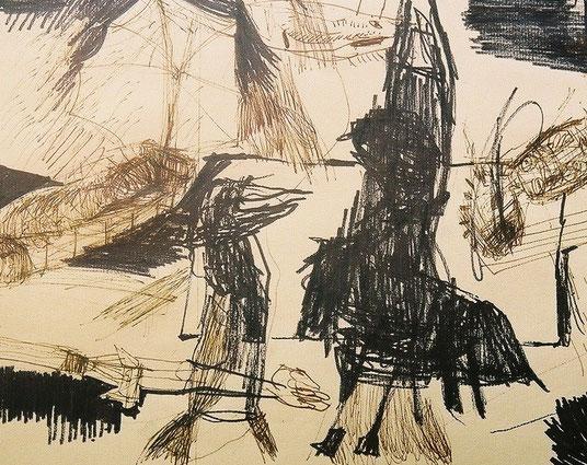 Ulysse, projet pour une gravure, markers noirs sur papier, 2000