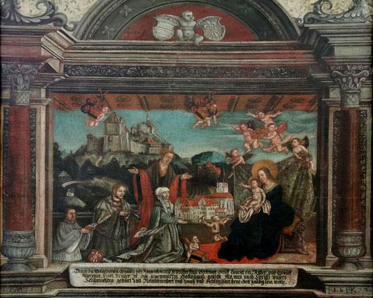 Das Stifterbild zeigt wie die Gräfin von Roggenstein das Klostermodell der Muttergottes überreicht. Im Hintergrund ragt mächtig die Burg Roggenstein auf, links unten kniet Abt Georg I. Frey.