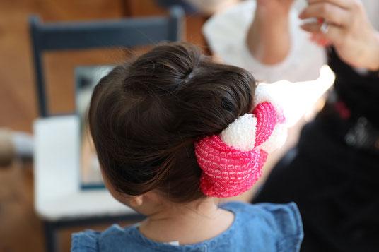 七五三 3歳 日本髪 着付け コロボックル colobockle フォトスタジオ 出張撮影