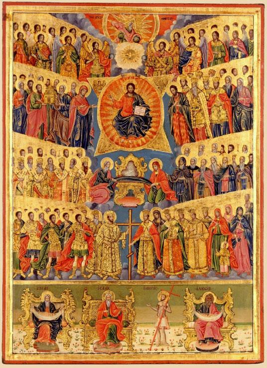 Fête de tous les Saints (icône du monastère d'Aghiou Pavlou, Grèce)