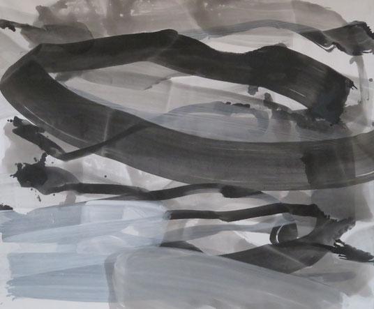 strokes 33,  Tusche mit Kreidegrund auf Leinwand, 100/120cm
