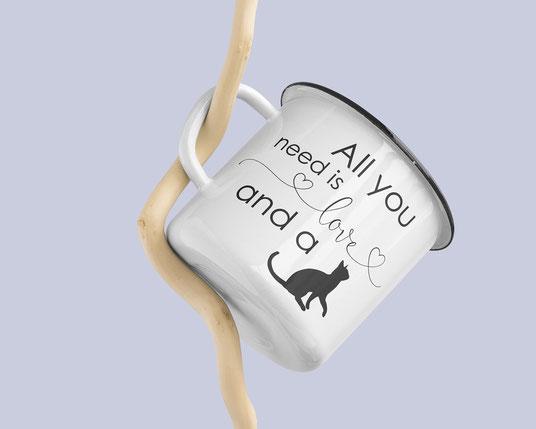 Emaille Becher für Katzenfreunde