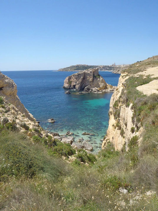 Mgarr, cliffs, Gozo, Malta