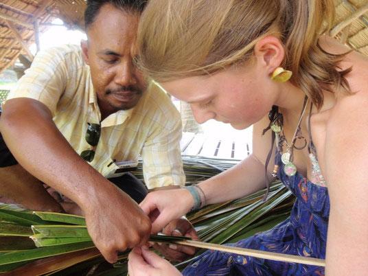 Coconut leaf weaving,  Laman Padi, Langkawi, Malaysia