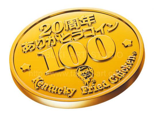 記念コインのイラスト エアブラシ、アクリル絵具使用