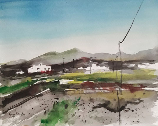 Plachetka, Lanzarote, Watercolour, 7.2019