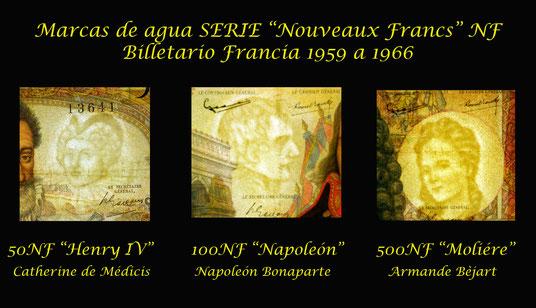 Marcas de agua Serie Francia NF nuevos francos años 60