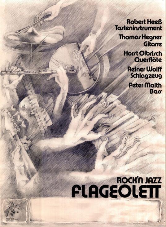 Bandplakat 1980, entworfen und gezeichnet von der Offenbacher Künstlerin Uschi Zepter (geb. Schwinn)