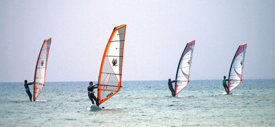 小浜島でウインドサーフィンを楽しむ人たち=24日午前、リゾナーレ小浜島のビーチ