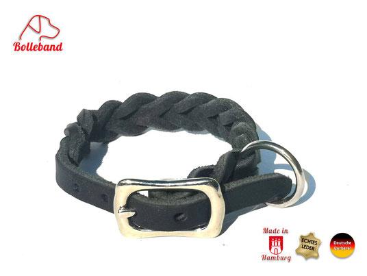 Flechthalsband Leder schwarz 11 mm breit mit Edelstahlverschluß Bolleband