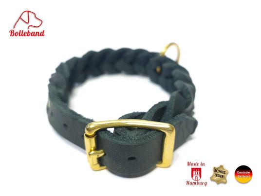 Flechthalsband Leder schwarz 20 mm breit mit Messingverschluß Bolleband