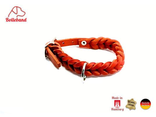 Lederhalsband geflochten rot 11 mm breit mit Edelstahlverschluß Bolleband