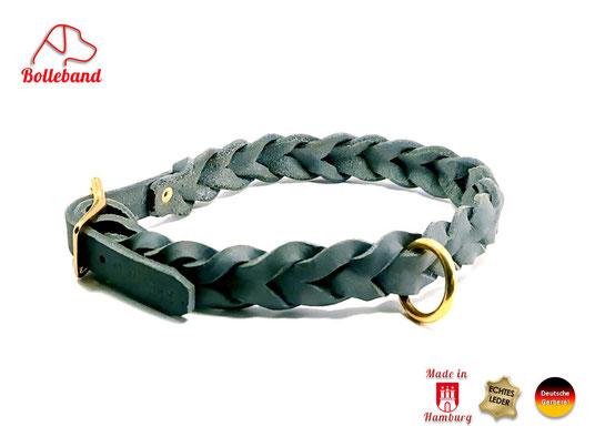 Flechthalsband Leder grau 15 mm breit mit Edelstahlverschluß Bolleband