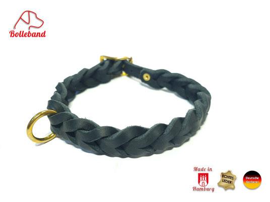 Flechthalsband Leder schwarz 15 mm breit mit Messingverschluß Bolleband