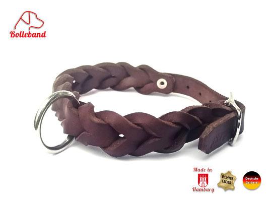 Flechthalsband Leder braun 15 mm breit mit Edelstahlverschluß Bolleband
