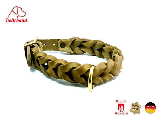 Flechthalsband Leder oliv mm breit mit Messingverschluß Bolleband