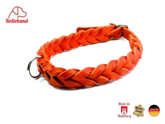 Flechthalsband Leder rot 20 mm breit mit Messingverschluß Bolleband