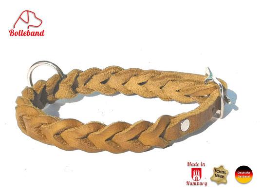 Flechthalsband Leder oliv 11 mm breit mit Edelstahlverschluß Bolleband