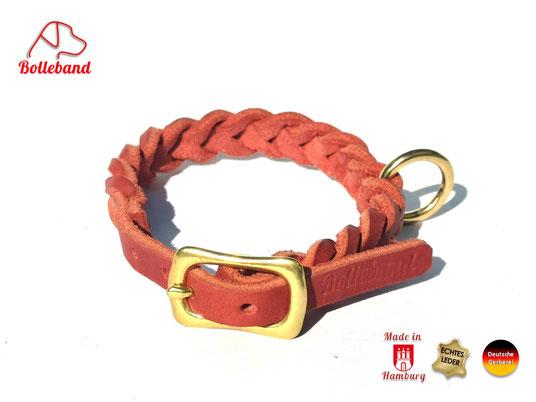 Flechthalsband Leder rot 11 mm breit mit Messingverschluß Bolleband