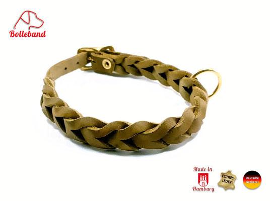 Lederhalsband geflochten oliv 15 mm breit mit Messingverschluß Bolleband
