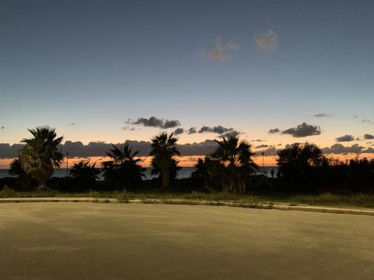 Italien, Sizilien, Sehenswürdigkeit, Marsala, Palmen, Strand, Zentrum, Promenade, Sonnenuntergang
