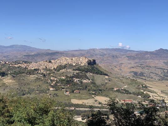 Italien, Sizilien, Sehenswürdigkeit, Enna, Berg, Dorf, Burg, Aussicht, Calascibetta