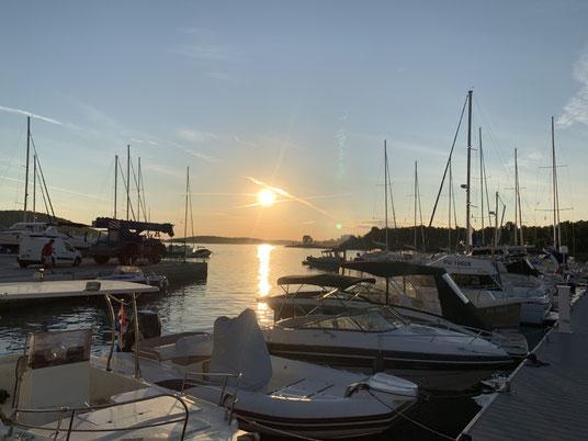 Kroatien, Istrien, Medulin, Marina, Sonnenuntergang