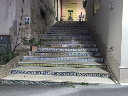 Italien, Sizilien, Sehenswürdigkeit, Sciacca, Treppe, Altstadt
