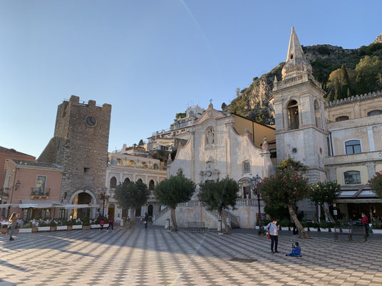 Italien, Sizilien, Sehenswürdigkeit, Taormina, Belvedere, Aussicht, Aussichtsplattform, Kirche, Chiesa di San Guiseppe