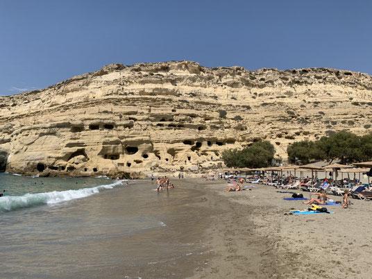 Griechenland, Kreta, Sehenswürdigkeit, Reisebericht, highlight, Urlaub, Matala, Strand, Höhlen