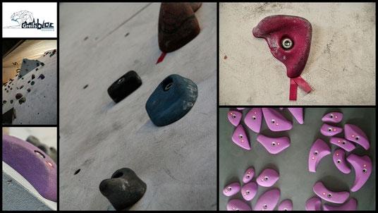 Collage Klettergriffe und Bouldergriffe mit Kletterhalle