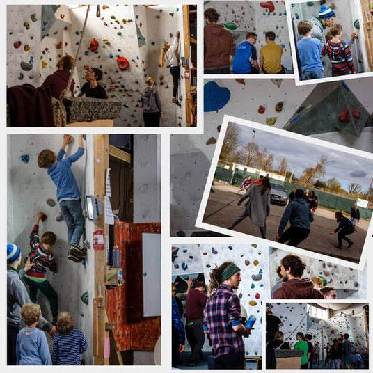 Collage Kletternde Leute und Kinder im Greifsbloc