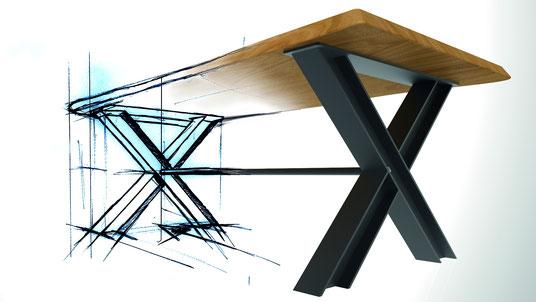 Möbelloft, Moebelloft, Tisch auf Maß, Tisch selber konfigurieren, Tisch selber gestalten, Designtisch, Designertisch, Tischgestell auf Maß, Tischgestell auf Wunsch, Tischgestell selber designen, Stahlgestell, Holzgestell, Glasgestell, Essen, Düsseldorf,