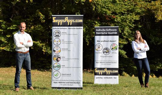 Sepp und Alex von SeppsApps OG, SeppsApps.com Banner, Indische Software Steirische Qualität