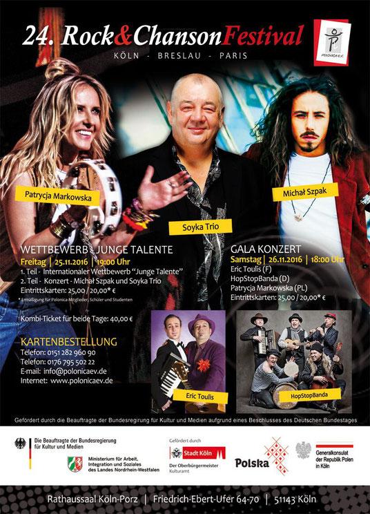 """Plakat des 24. Rock & ChansonFestivals """"Köln-Breslau-Paris"""" 2016"""