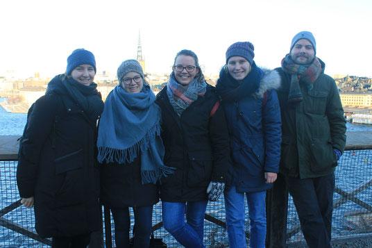 Besuch aus Riga in Stockholm - Anna-Maria, Sofia, Catalina, Emelie und Leo (v.l.)