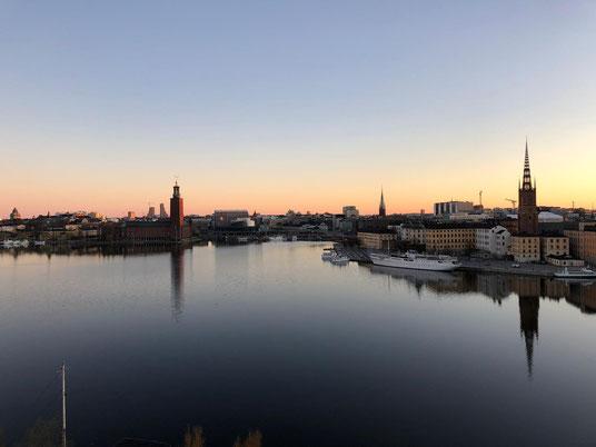 Sonnenaufgang über der Stockholmer Altstadt