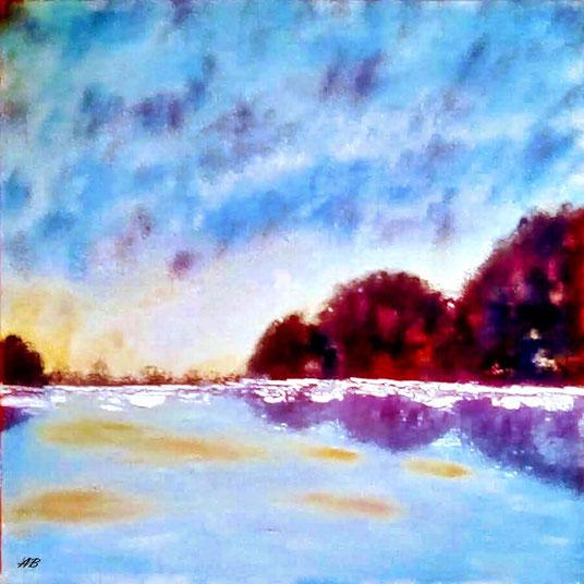 Bäume am See, Ölgemälde, Seelandschaft,Bäume, Wald, See, Wasser, Himmel, Ölmalerei, Landschaftsbild, Fine Art Painting