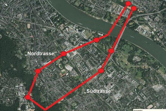Nord- und Südtrasse; Bild: Stadt Bonn