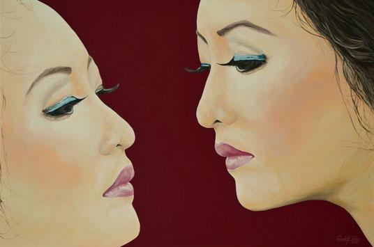 """Moderne zeitgenössische Malerei mit dem Titel Kyoko, übersetzt """"Der Spiegel""""."""