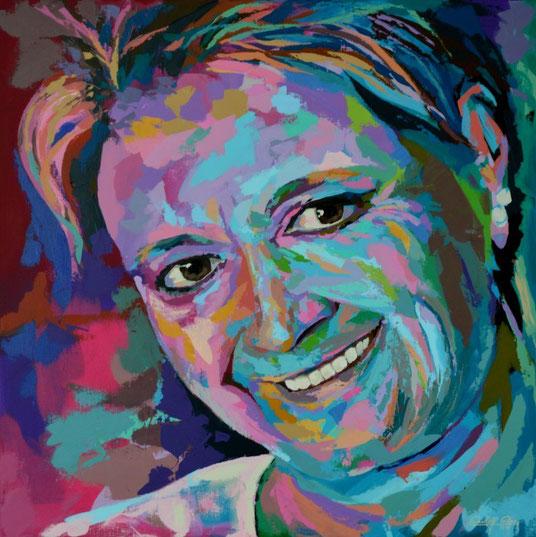 Ein mit dem Palettenmesser gespachteltes Frauenporträt in kräftigen bunten Farben.