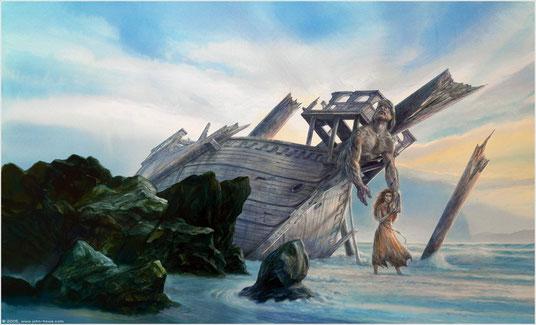 """Parangon et Ambre, sur la couverture de """"Mad Ship"""", par John Howe"""