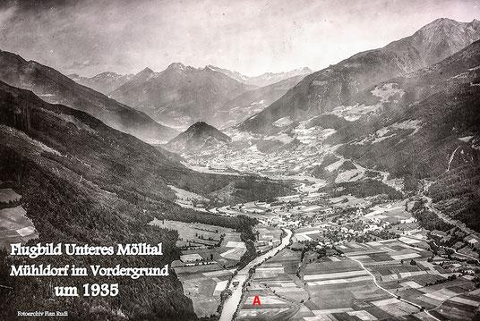 Abb. 1: Luftaufnahme des Mölltales im Jahre 1935.