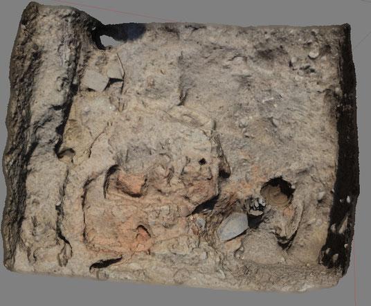 Nein, das ist kein Foto, sondern ein Screenshot eines digitalen 3D-Modells eines Hausbefundes in Grakliani Gora.
